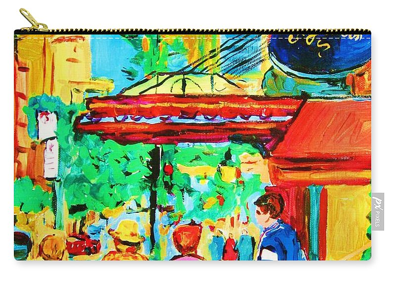 Paintings Of The Ritz Carlton On Sherbrooke Street Montreal Art Carry-all Pouch featuring the painting Springtime Stroll by Carole Spandau