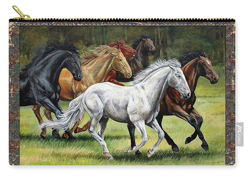 Horse Carry-all Pouch featuring the painting Spunky And The Gang by Cynthia Westbrook