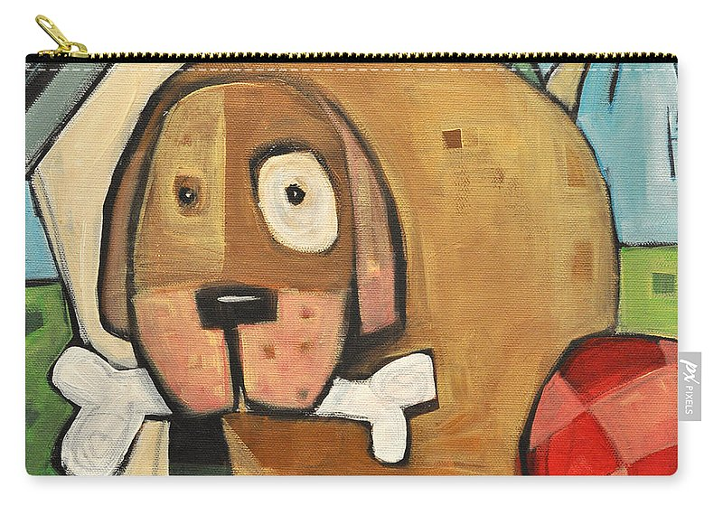Dog Carry-all Pouch featuring the painting Square Dog by Tim Nyberg