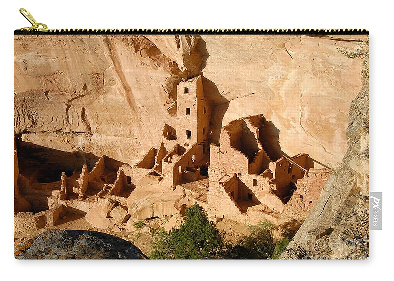 Square Tower Carry-all Pouch featuring the photograph Square Tower Ruin by David Lee Thompson