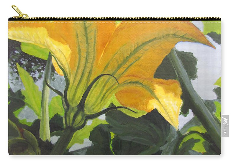 Vegetable Carry-all Pouch featuring the painting Squash Blossom by Karen Ilari
