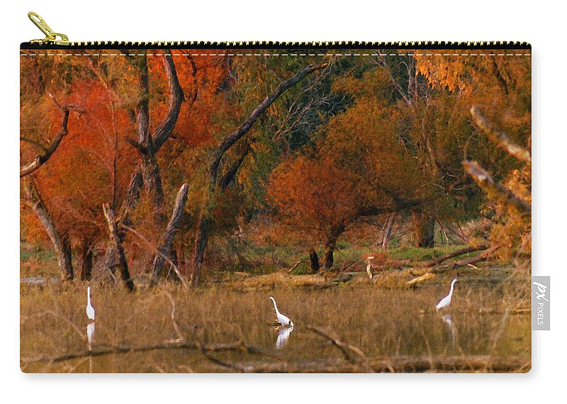 Landscape Carry-all Pouch featuring the photograph Squaw Creek Egrets by Steve Karol