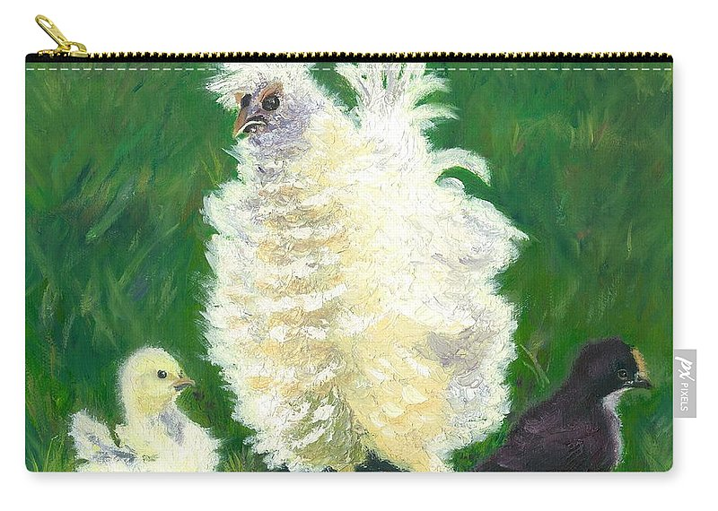 Bantam Frizzle Farmscene Chickens Hen Bird Nature Animals Spring Freerangers Carry-all Pouch featuring the painting Squiggle by Paula Emery
