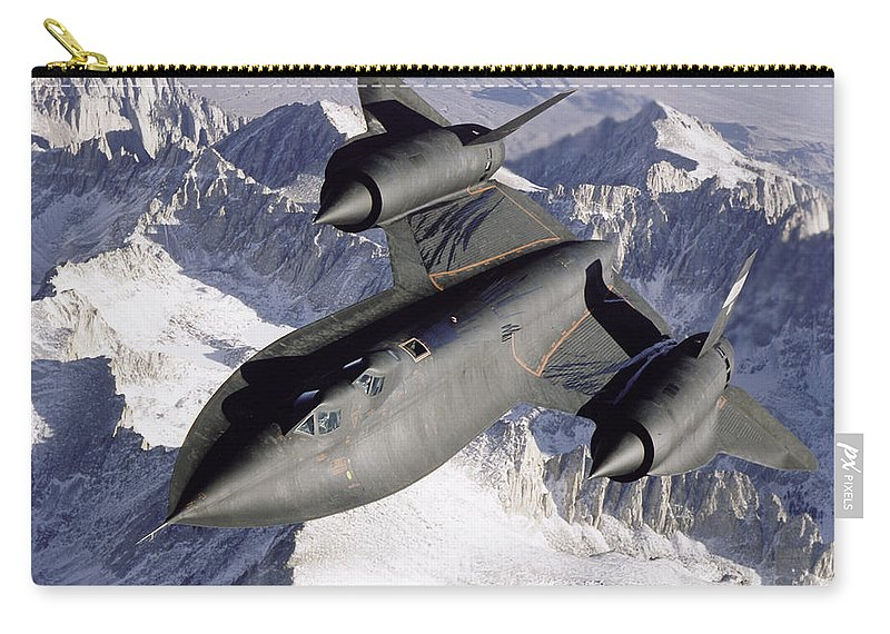 Horizontal Carry-all Pouch featuring the photograph Sr-71b Blackbird In Flight by Stocktrek Images