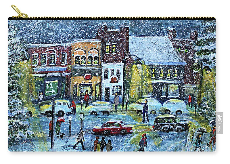 Landscape Carry-all Pouch featuring the painting Snowing In Concord Center by Rita Brown