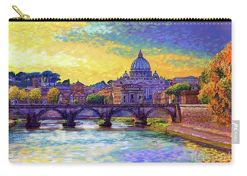Italy Carry-all Pouch featuring the painting St Angelo Bridge Ponte St Angelo Rome by Jane Small