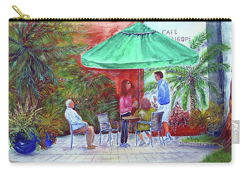 St. Armand's Carry-all Pouch featuring the painting St. Armand's Circle Cafe Scene by Loretta Luglio