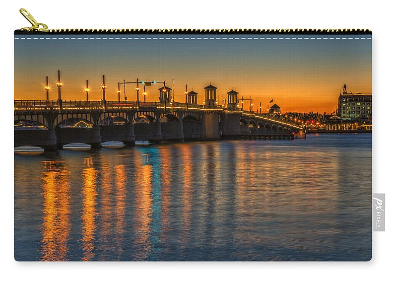 St Augustine Carry-all Pouch featuring the photograph St Augustine Bridge Of Lions Sunset Dsc00433_16 by Greg Kluempers