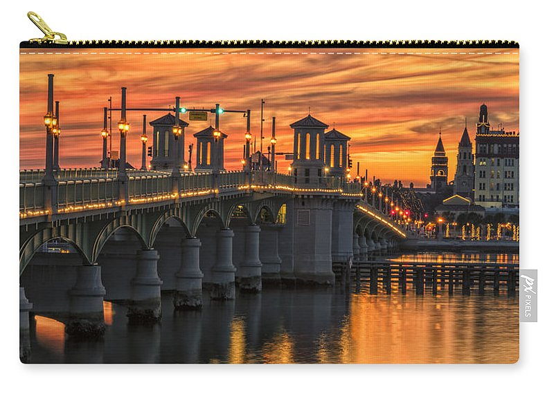 St Augustine Carry-all Pouch featuring the photograph St Augustine Bridge Of Lions Sunset Dsc00565_16 by Greg Kluempers