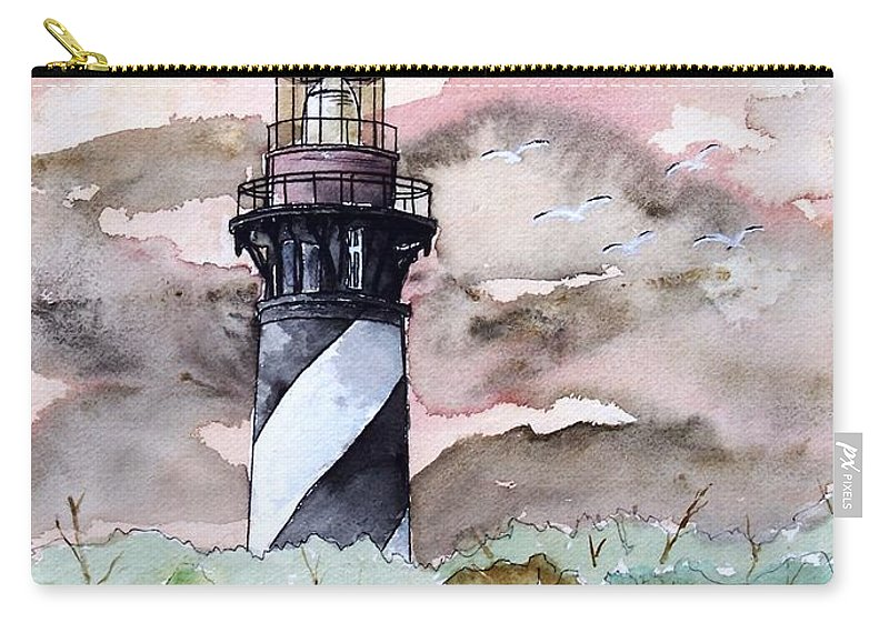 Lighthouse Carry-all Pouch featuring the painting St Augustine Lighthouse by Derek Mccrea