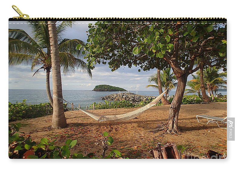 Croix Beach Hammock Us Virgin Islands Trees Ocean Carry-all Pouch featuring the pyrography St. Croix Beach by Heather Fiedler