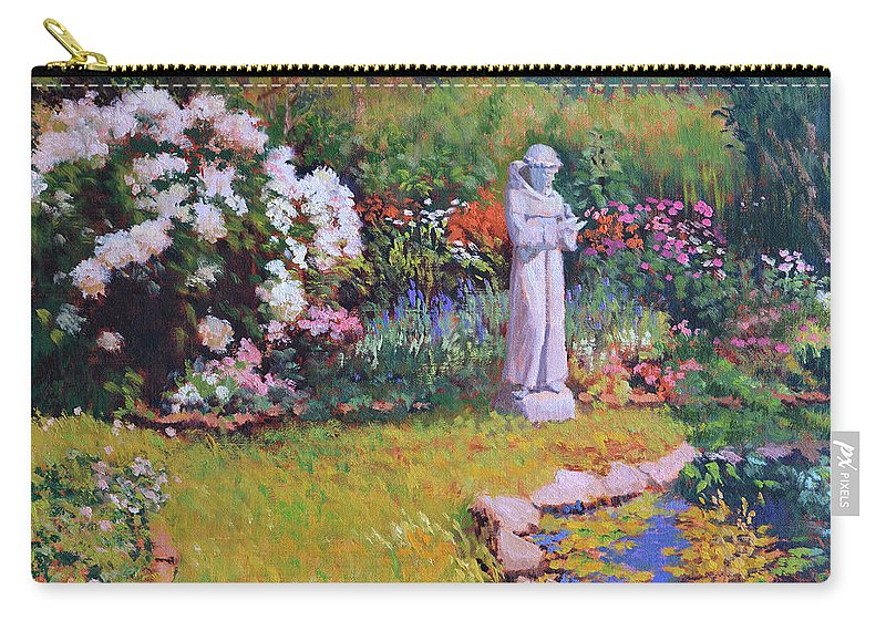 St. Francis Carry-all Pouch featuring the painting St. Francis In The Garden by Keith Burgess