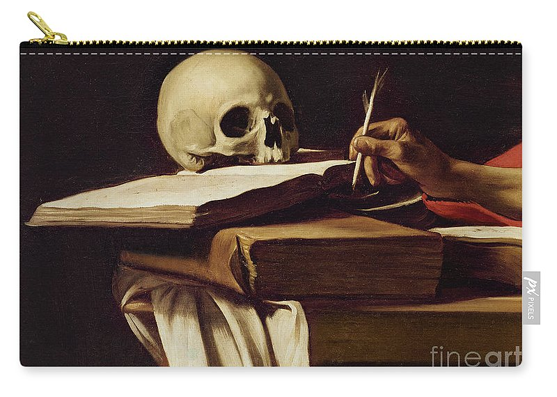 Saint; Hand; Quill; Book; Books; Skull; Desk; Table; Chiaroscuro Carry-all Pouch featuring the painting St. Jerome Writing by Caravaggio