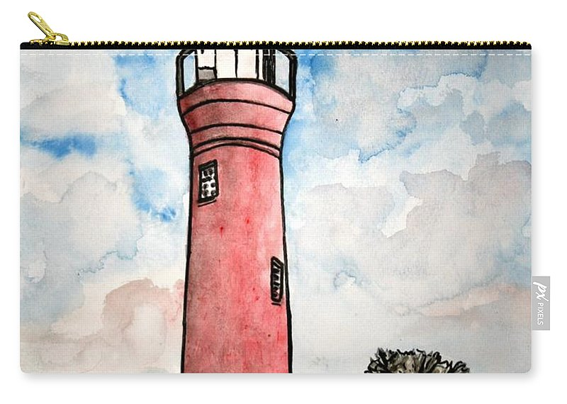 Lighthouse Carry-all Pouch featuring the painting St Johns River Lighthouse Florida by Derek Mccrea