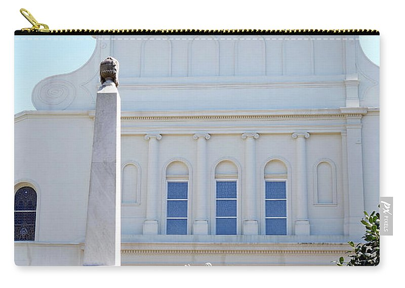St. Louis Cathedral Carry-all Pouch featuring the photograph St. Louis Cathedral Back Lawn by Robert Meyers-Lussier