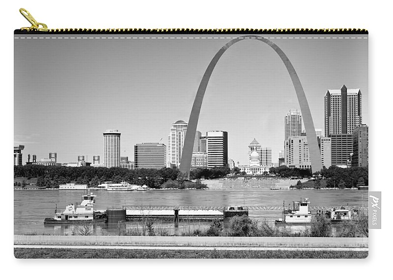 St Louis Carry-all Pouch featuring the photograph St Louis City Scape In Black And White by Ginger Wakem