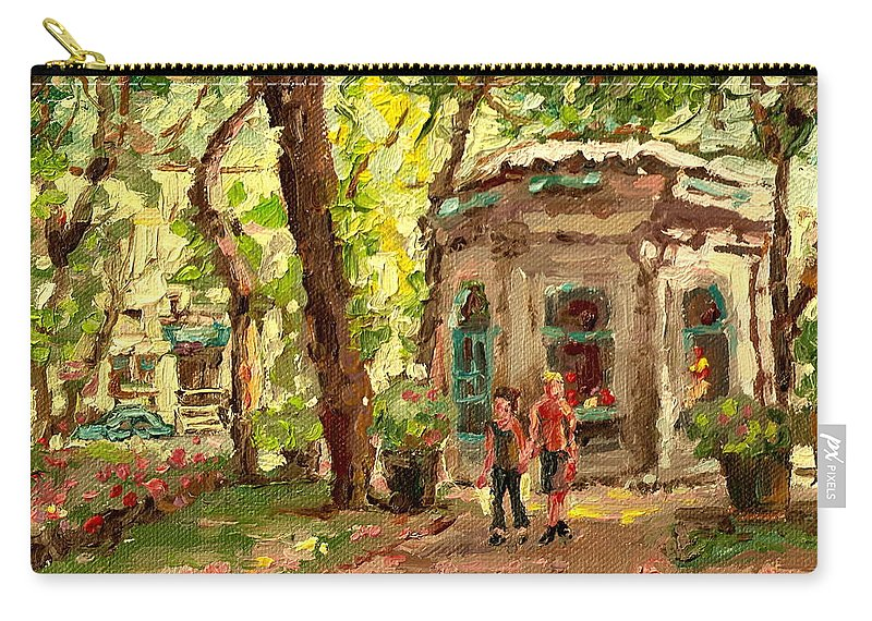 St.louis Square St. Denis Street Carry-all Pouch featuring the painting St Louis Square St Denis Street by Carole Spandau