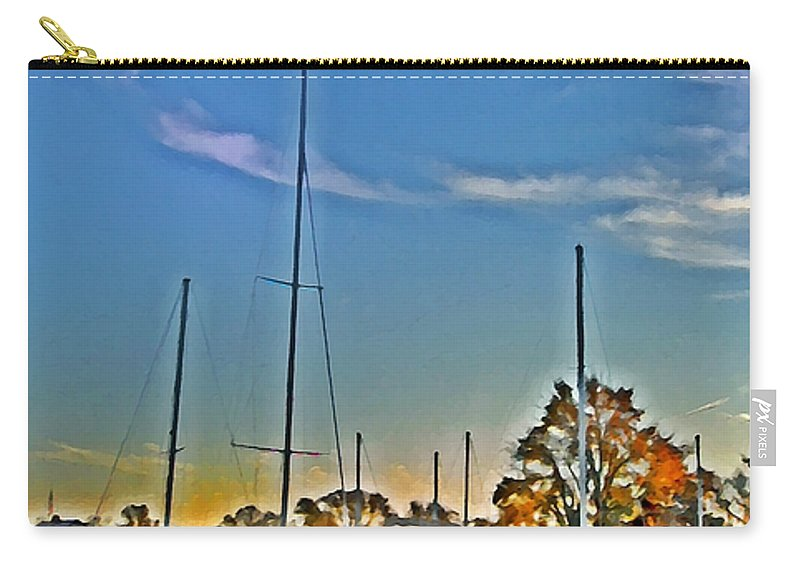 St. Michael's Carry-all Pouch featuring the photograph St. Michael's Marina On The Chesapeake by Bill Cannon