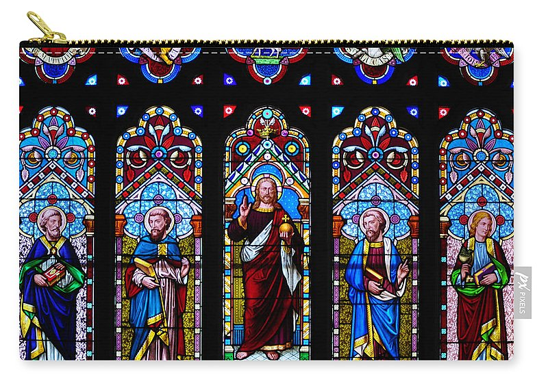 God Carry-all Pouch featuring the photograph St. Michael's Parish Stained Glass by Bill Cannon