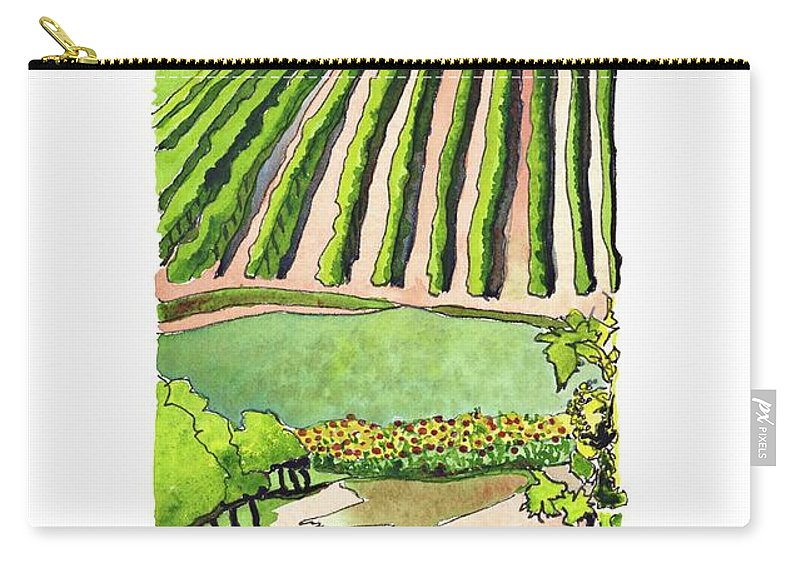 French Vineyards Carry-all Pouch featuring the painting St Palais Du Ne, Cognac by Joan Cordell