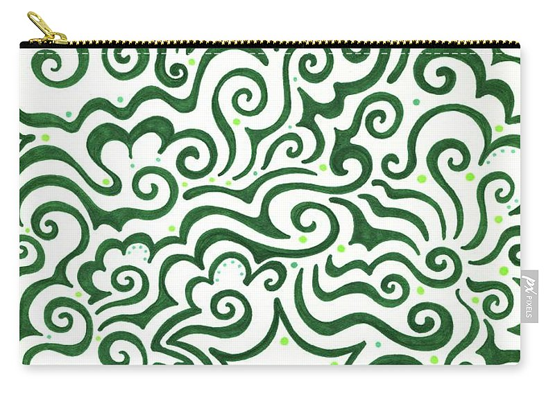 Green Carry-all Pouch featuring the drawing St Patrick's Day Abstract by Mandy Shupp