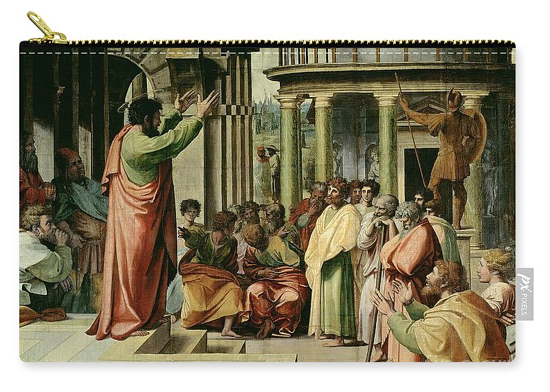 Paul Carry-all Pouch featuring the painting St. Paul Preaching At Athens by Raphael