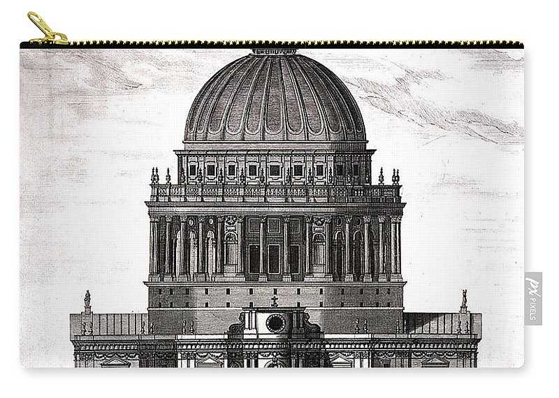 Historic Carry-all Pouch featuring the photograph St. Pauls Drawn By Christopher Wren by Wellcome Images