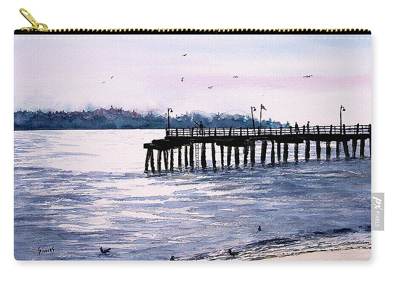 Fishing Carry-all Pouch featuring the painting St. Simons Island Fishing Pier by Sam Sidders