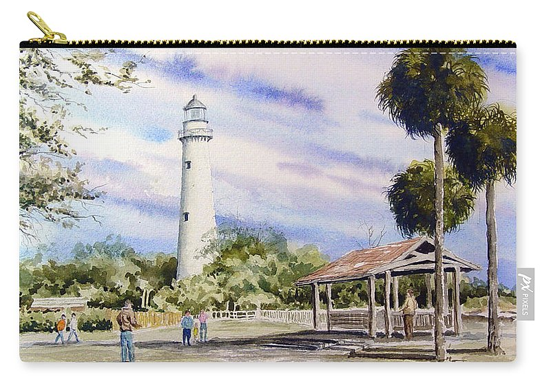 Lighthouse Carry-all Pouch featuring the painting St. Simons Island Lighthouse by Sam Sidders