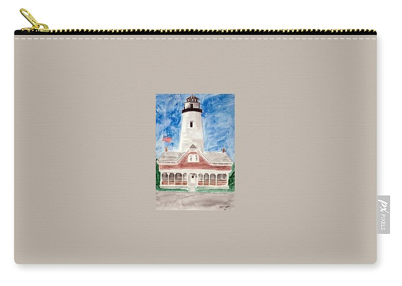 Watercolor Landscape Lighthouse Seascape Painting Carry-all Pouch featuring the painting ST SIMONS LIGHTHOUSE nautical painting print by Derek Mccrea