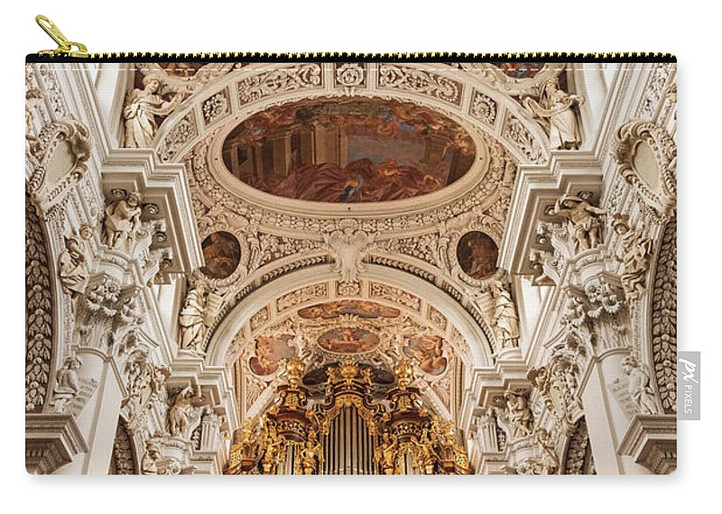 Passau Germany Building Buildings Structure Structures Artwork Organ Organs St. Stephen Cathedral Cathedrals Church Churches Place Of Worship Places Of Worship Architecture Carry-all Pouch featuring the photograph St. Stephen Cathedral Interior by Bob Phillips