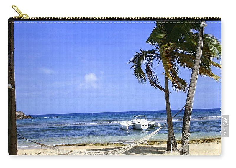 St Thomas Carry-all Pouch featuring the photograph St Thomas Beach Hamocks And Boats Iggys by Charlene Cox