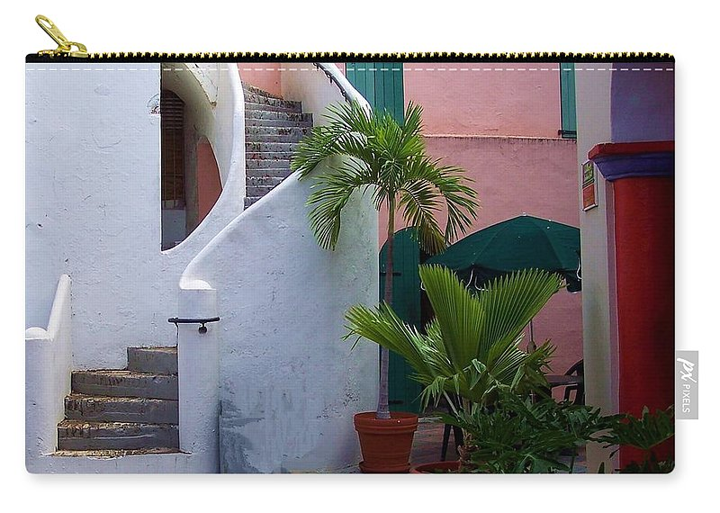 Architecture Carry-all Pouch featuring the photograph St. Thomas Courtyard by Debbi Granruth