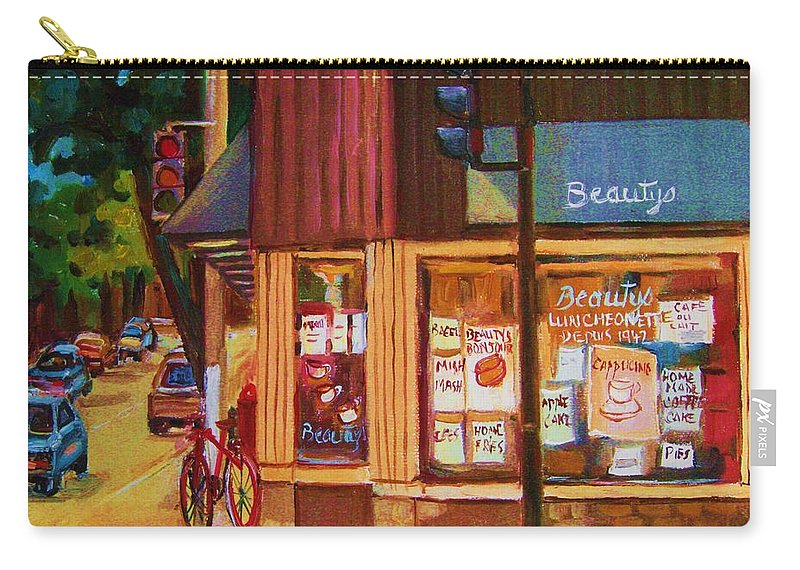 Beautys Carry-all Pouch featuring the painting St Urbain And Mount Royal by Carole Spandau