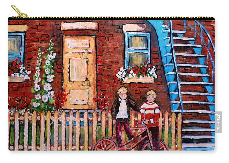 Montreal Neighborhoods Carry-all Pouch featuring the painting St. Urbain Street Boys by Carole Spandau