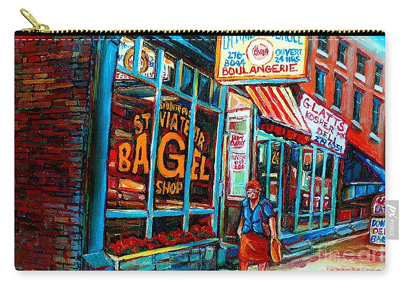 St Carry-all Pouch featuring the painting St. Viateur Bagel Bakery by Carole Spandau