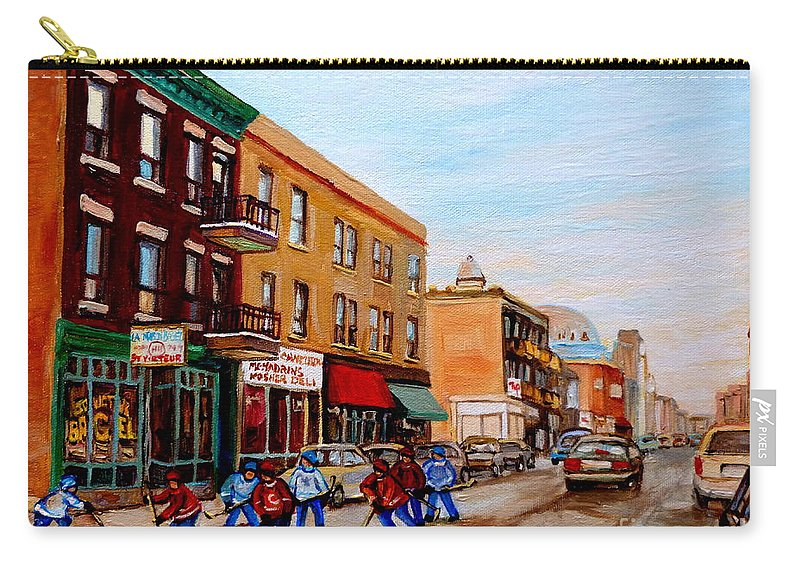 St.viateur Bagel Carry-all Pouch featuring the painting St. Viateur Bagel Hockey Game by Carole Spandau