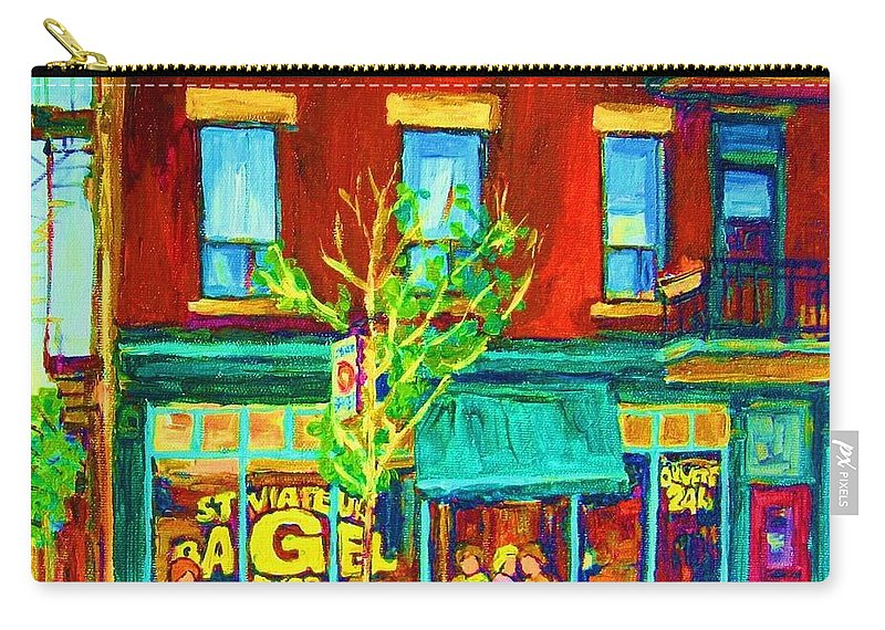 St. Viateur Bagel Shop Carry-all Pouch featuring the painting St Viateur Bagel Shop by Carole Spandau