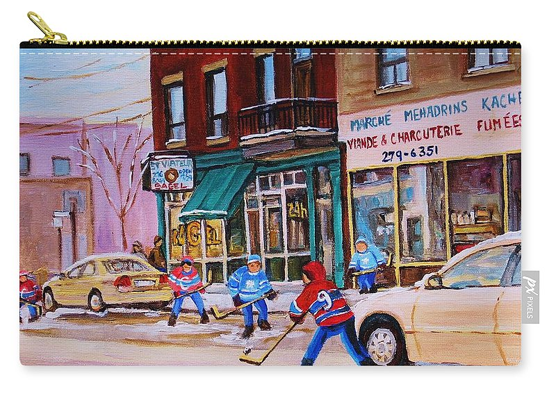Montreal Carry-all Pouch featuring the painting St. Viateur Bagel With Boys Playing Hockey by Carole Spandau