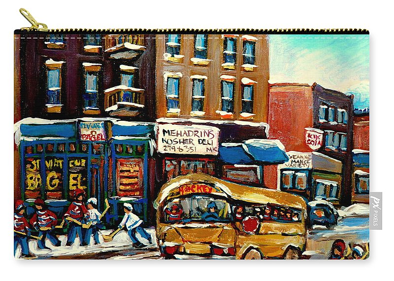 St. Viateur Bagel With Hockey Bus Carry-all Pouch featuring the painting St. Viateur Bagel With Hockey Bus by Carole Spandau