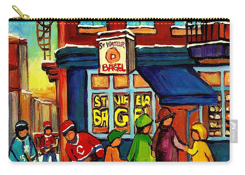 Monteeal Carry-all Pouch featuring the painting St. Viateur Bagel With Hockey by Carole Spandau