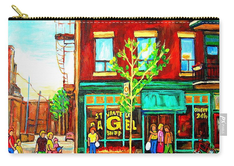 Cityscapes Carry-all Pouch featuring the painting St. Viateur Bagel With Shoppers by Carole Spandau