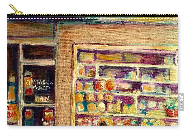 Montreal Carry-all Pouch featuring the painting St Viateur Street Montreal by Carole Spandau