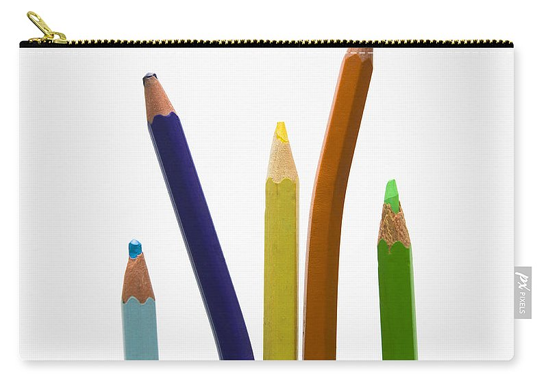 Colored Carry-all Pouch featuring the photograph Stack Of Colored Pencils by Bernard Jaubert