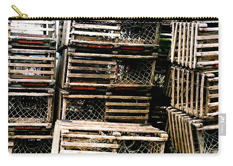 Lobster Traps Carry-all Pouch featuring the painting Stacked Traps by Paul Sachtleben