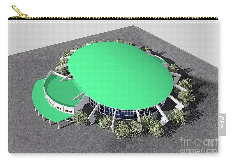 Building Rendering Carry-all Pouch featuring the digital art Stadium Model by Ron Bissett