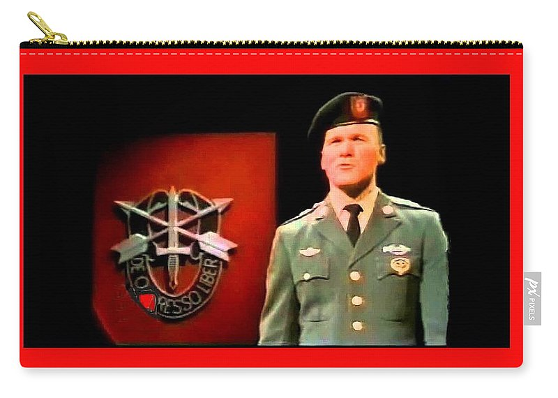Staff Sergeant Barry Sadler Singing On National Tv - Ed Sullivan Show 1966-2016 Carry-all Pouch featuring the photograph Staff Sergeant Barry Sadler Singing On National Tv - Ed Sullivan Show 1966-2016 by David Lee Guss