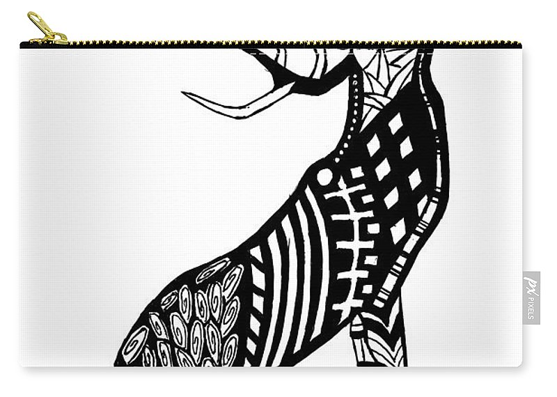 Ink Carry-all Pouch featuring the drawing Stag by Kayleigh Semeniuk