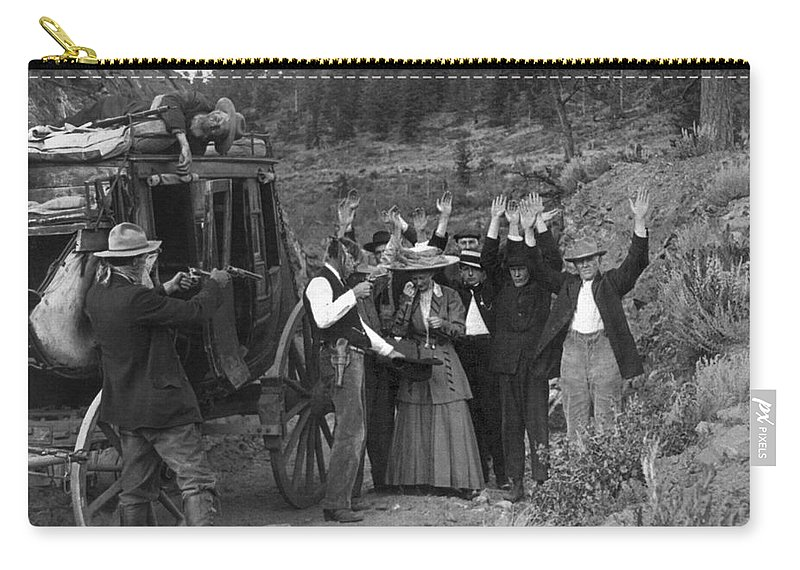 1911 Carry-all Pouch featuring the photograph Stagecoach Robbery, 1911 by Granger
