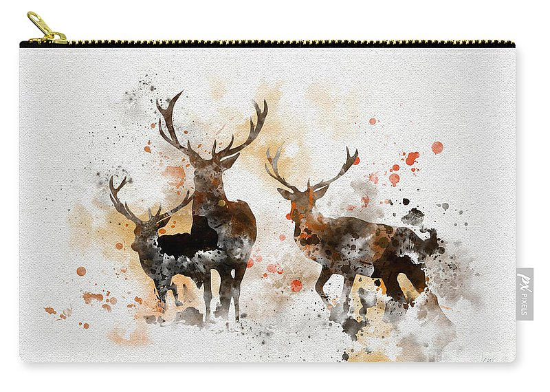 Stag Carry-all Pouch featuring the mixed media Stags by My Inspiration